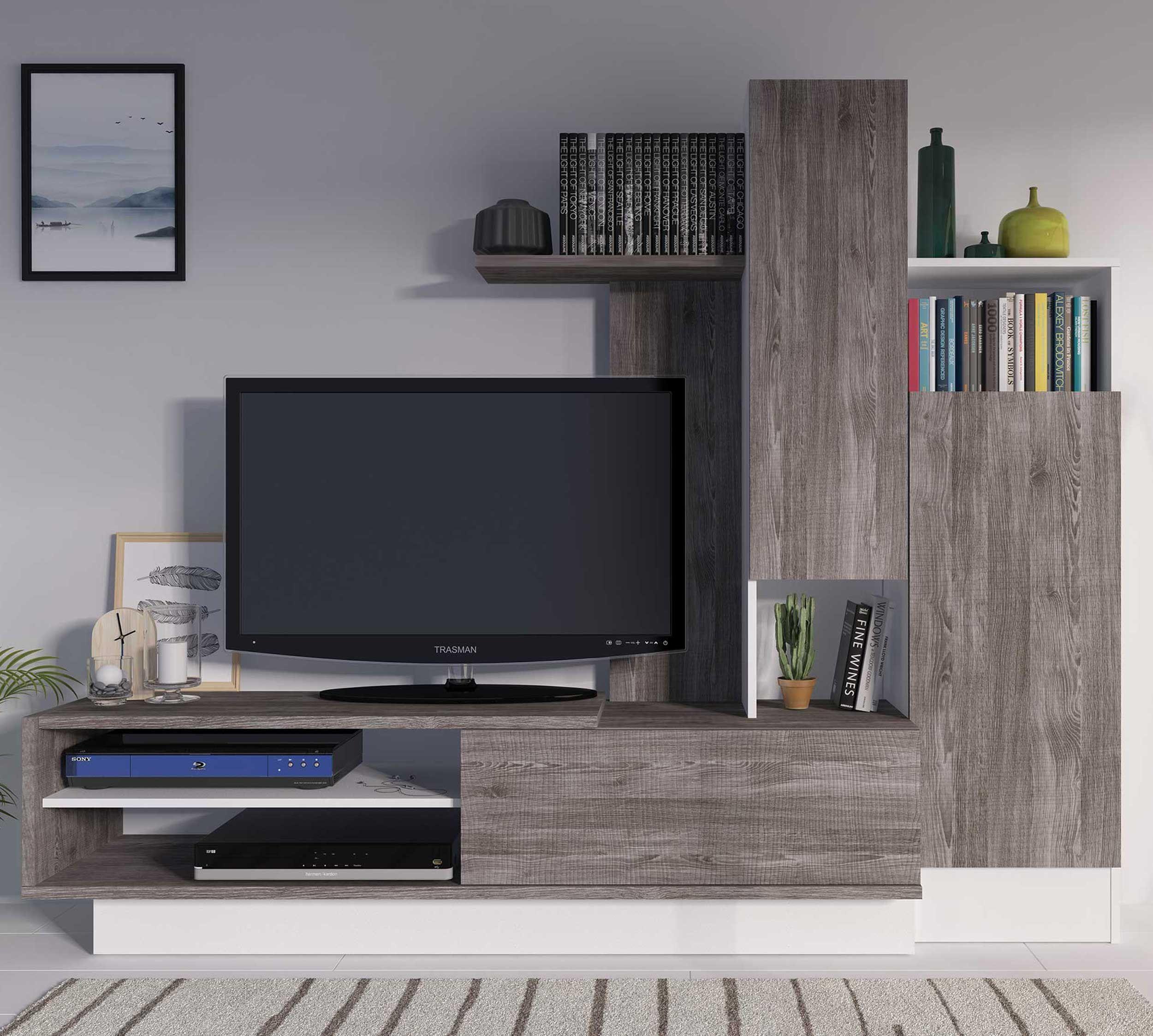 meuble tv benno 200cm gris blanc