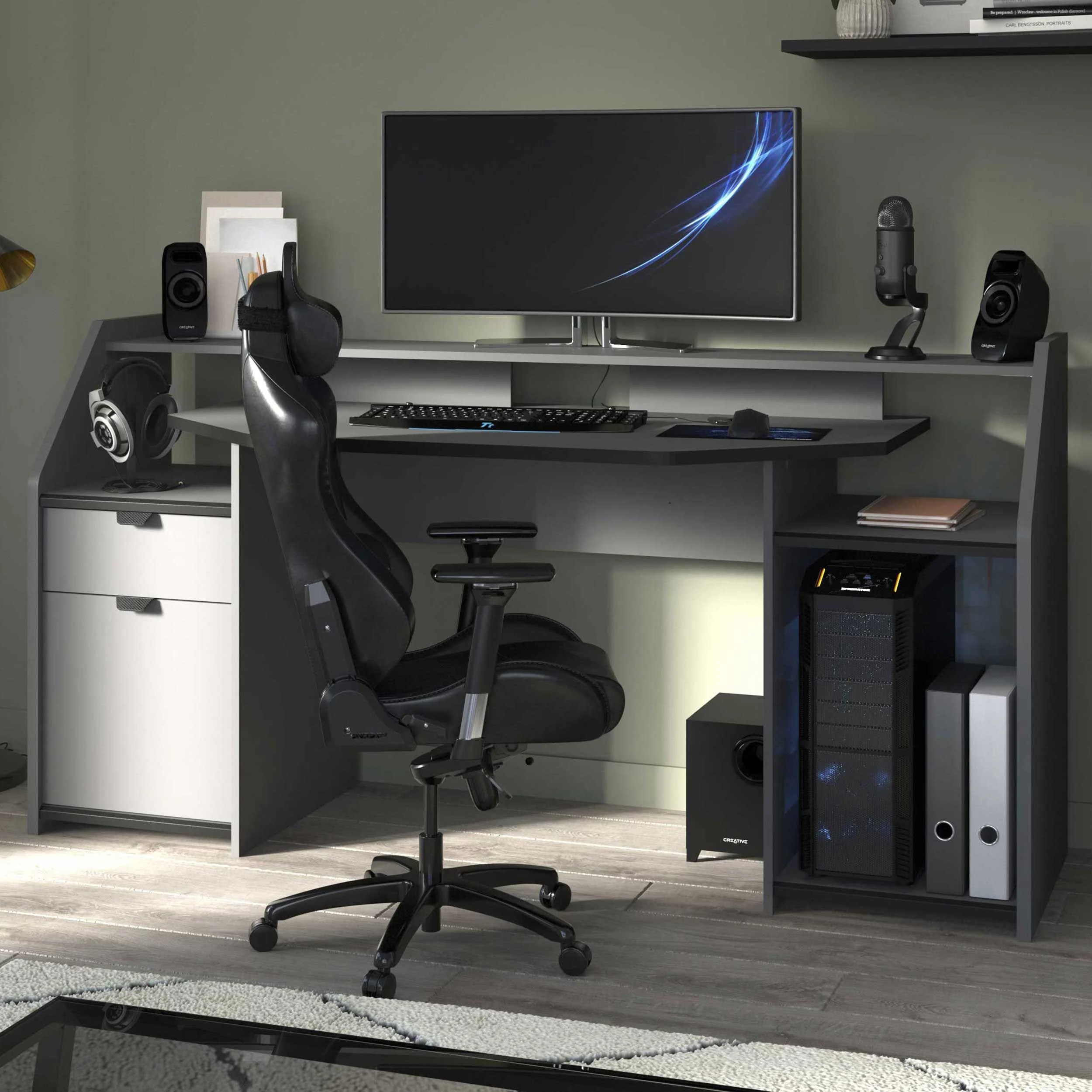 bureau gaming 180cm avec ruban led