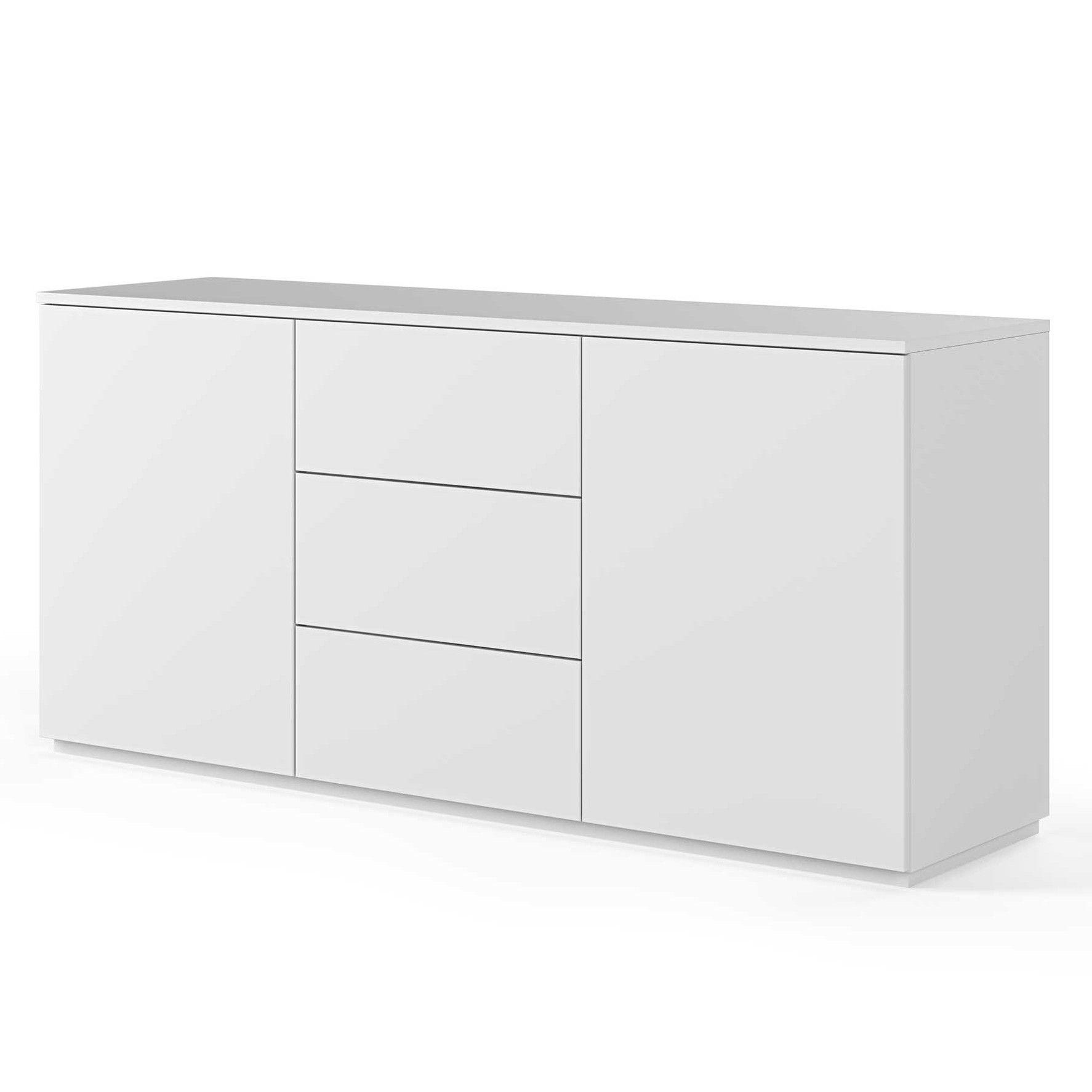 bahut join 180cm a 2 portes et 3 tiroirs blanc mat