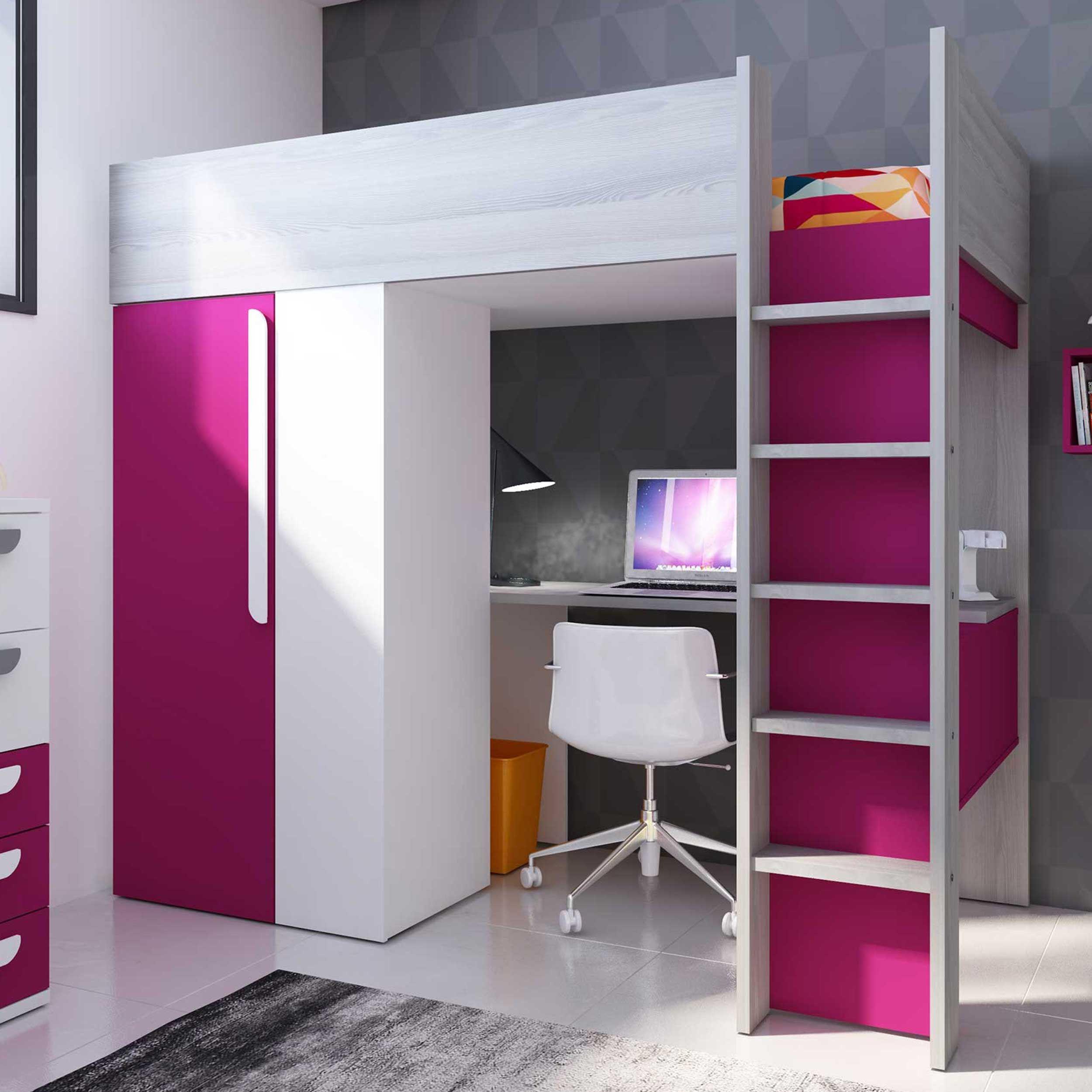 lit mezzanine beau avec bureau et armoire fuchsia