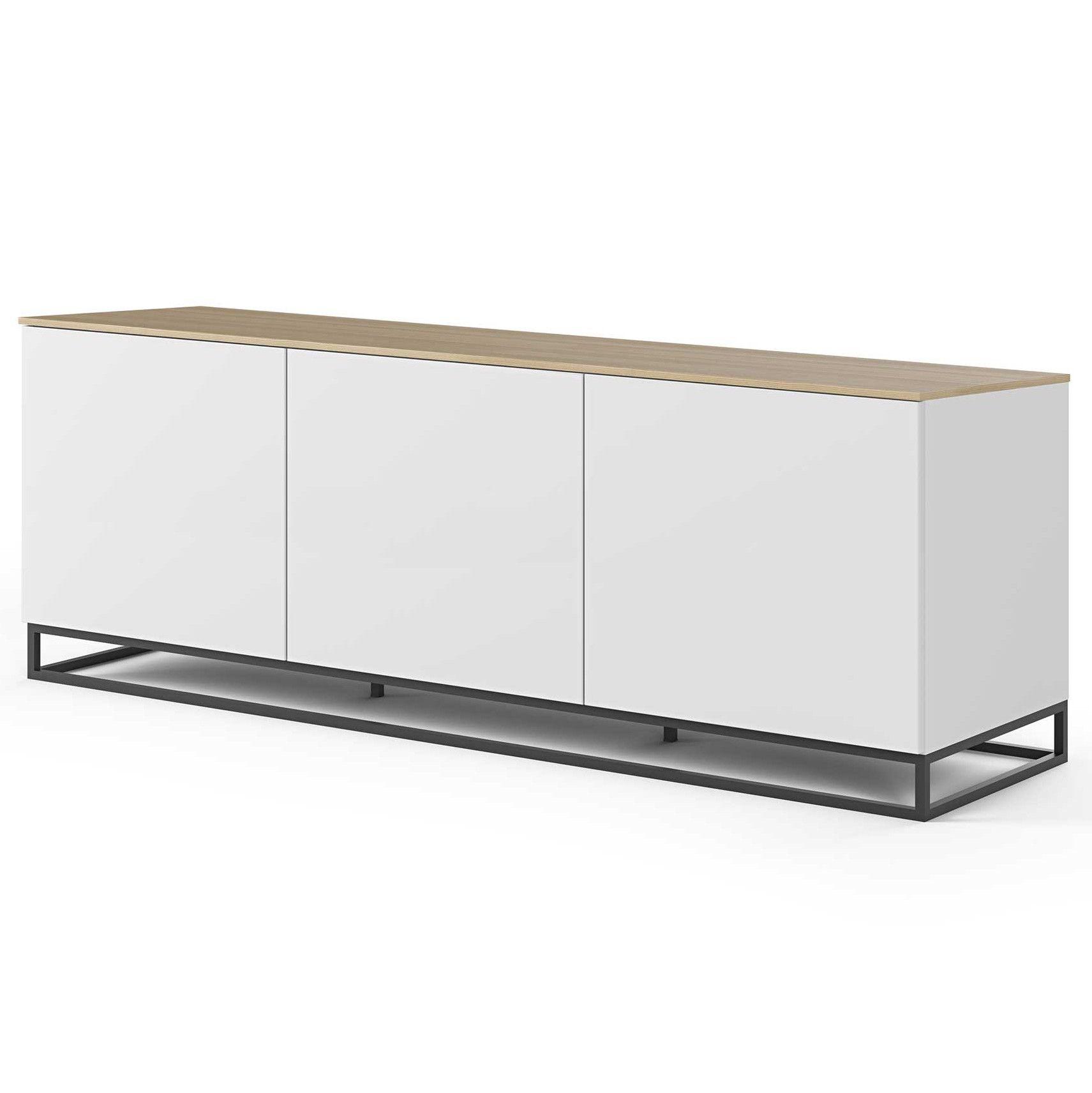 bahut join bas 180cm avec pietement en metal et 3 portes blanc mat chene