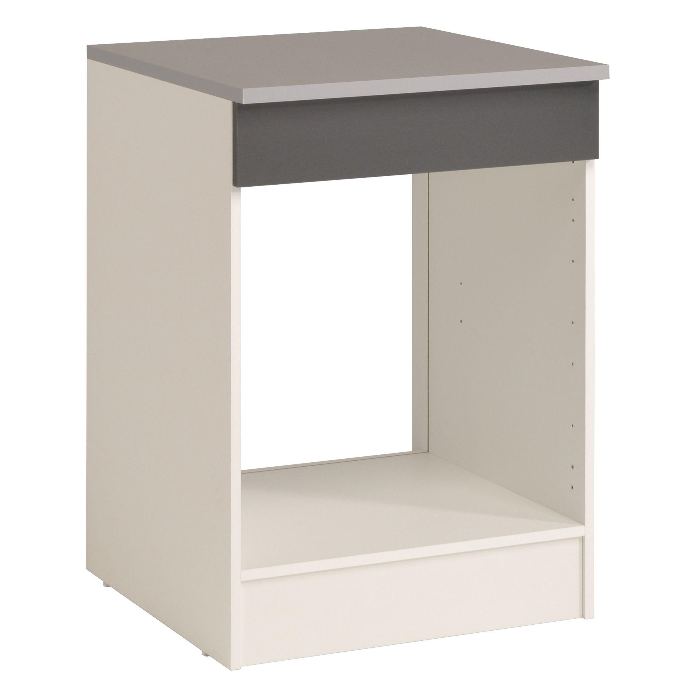 meuble bas oke 60 cm pour four et plaque de cuisson gris
