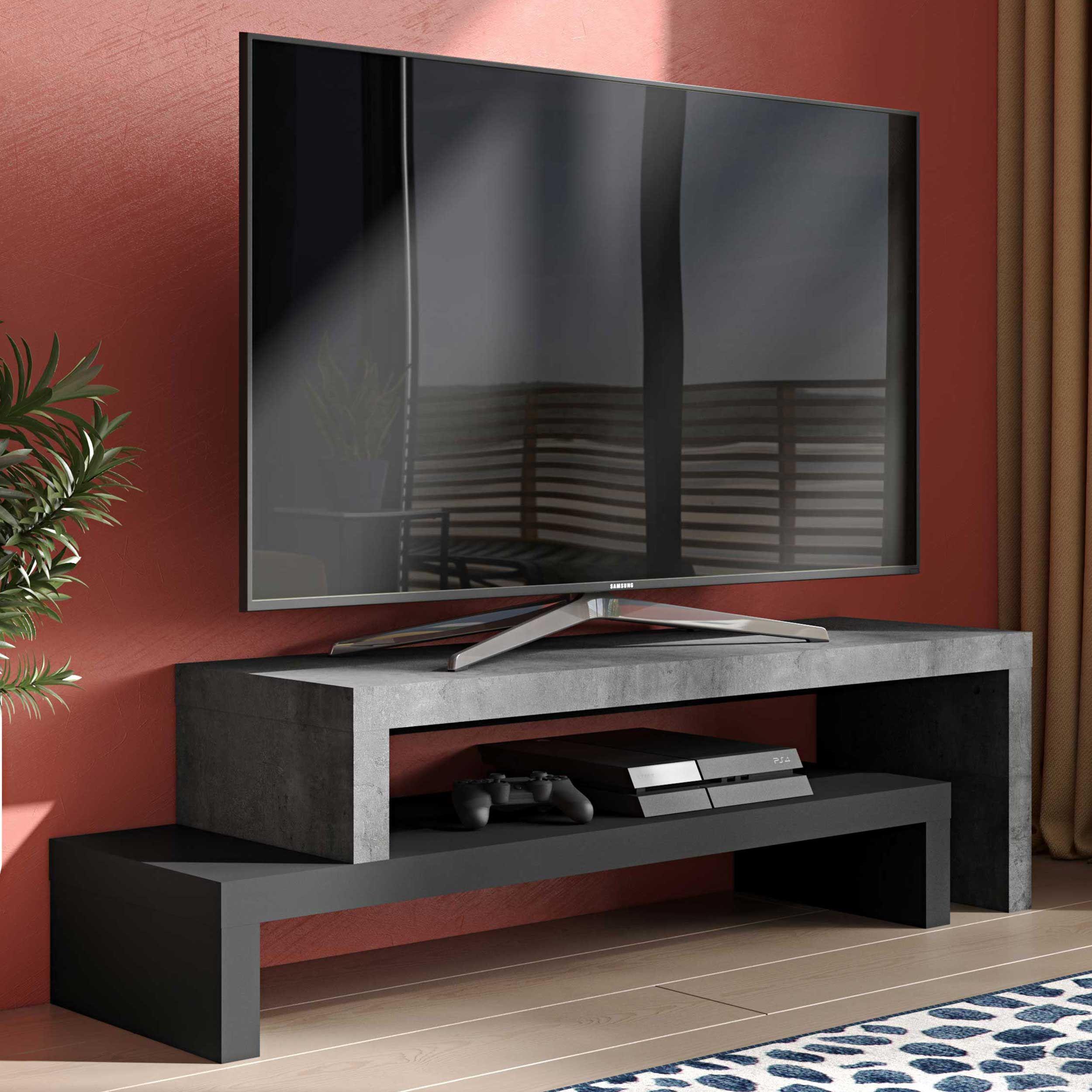 meuble tv cliff 125cm beton noir
