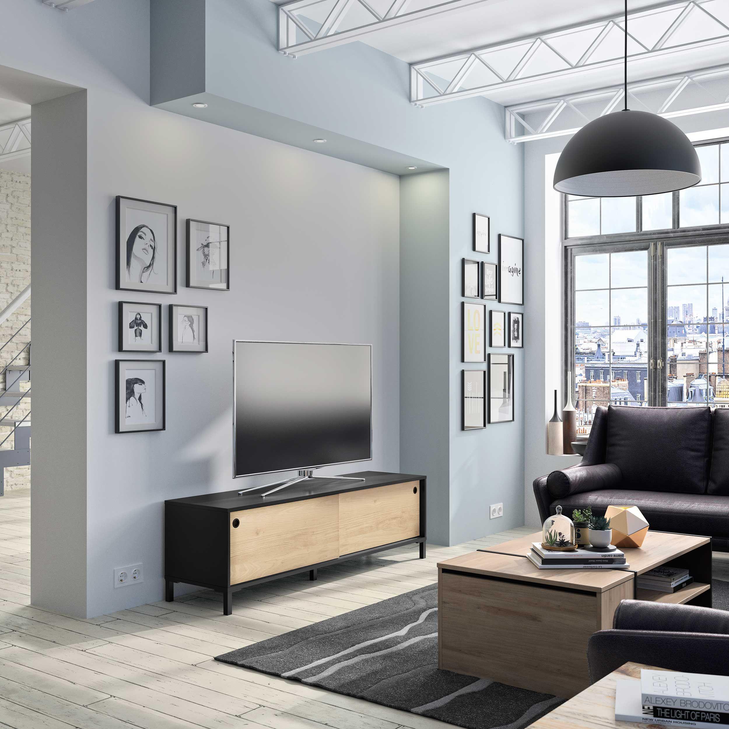 meuble tv jonah avec 2 portes coulissantes chataigne noir