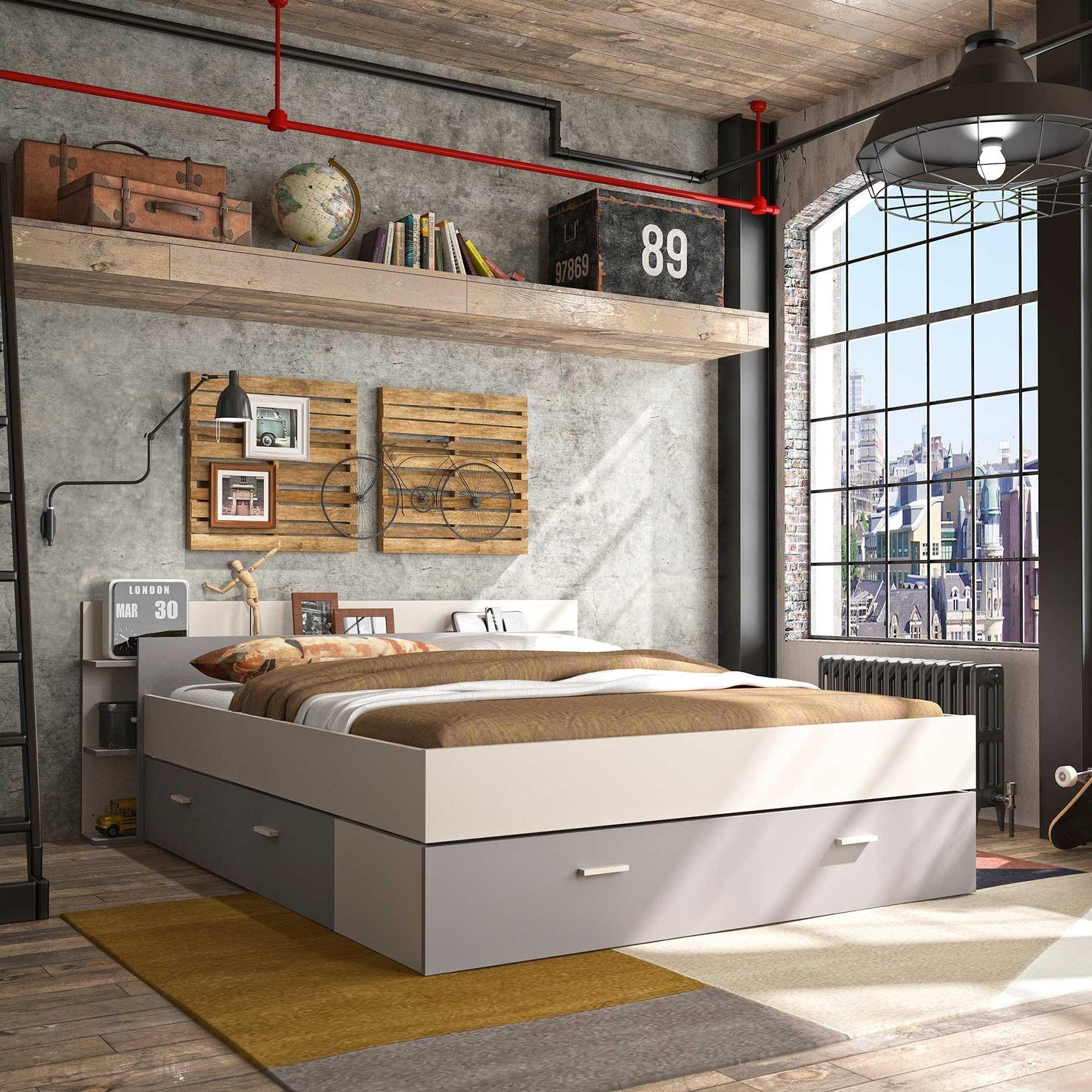 lit avec rangement eveline 140x190 blanc gris