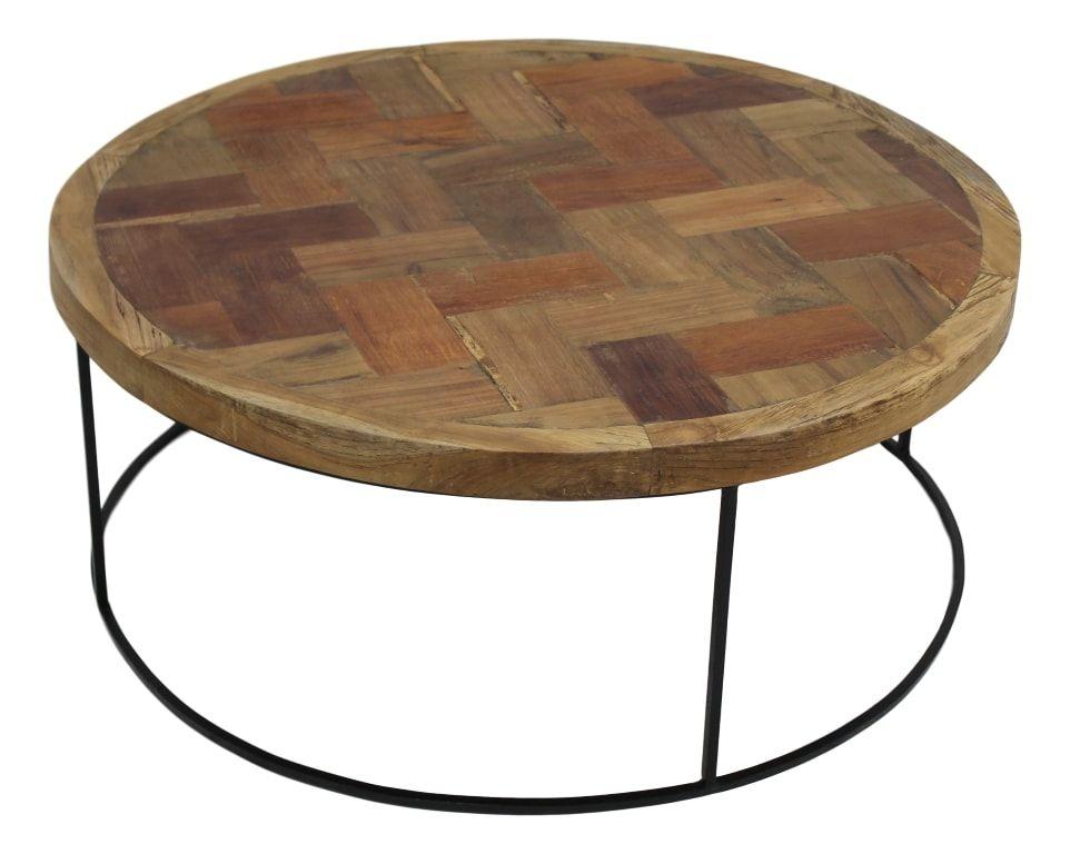 table basse mosaique o80 cm teck fer