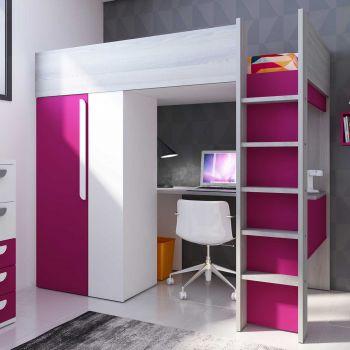 lit mezzanine beau avec bureau et