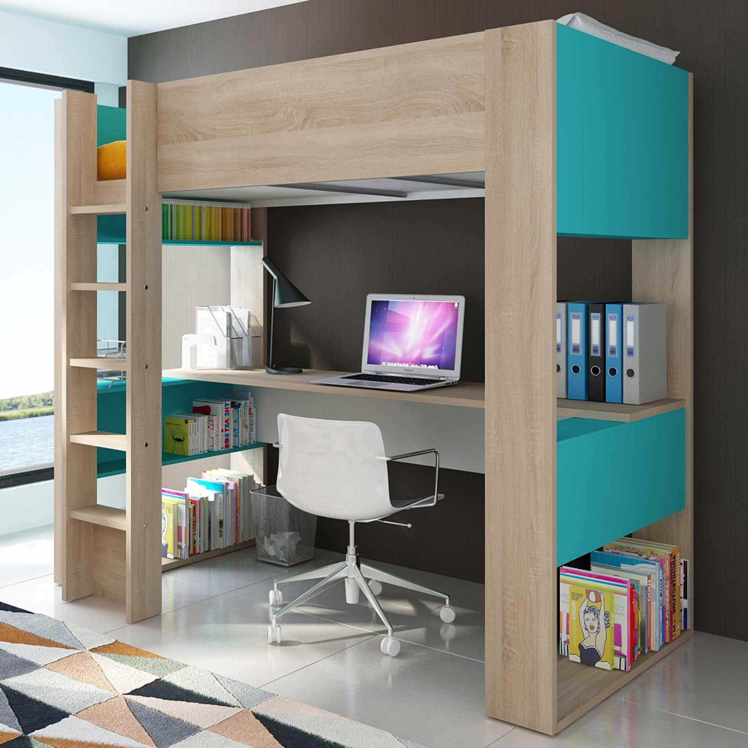 lit mezzanine beau avec bureau bleu