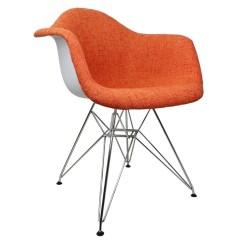 Accent Chair Orange Kids Futon Woolen Fabric Eames Style Arm