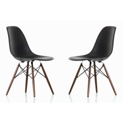 Black Plastic Chair With Wooden Legs Browning Directors Set Of 2 Eames Style Dsw Molded Dining Shell