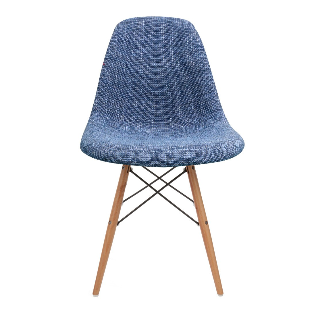 eiffel chair wood legs cheap pc gaming chairs blue fabric upholstered eames style dsw shell with
