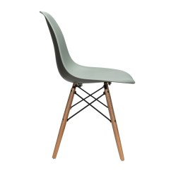 Eiffel Dining Chair With Beech Legs Black Cover Nature Series Moss Gray Dsw Molded Plastic Side
