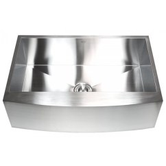 Stainless Steel Single Bowl Kitchen Sink Tops 33 Inch Curved Front Farmhouse