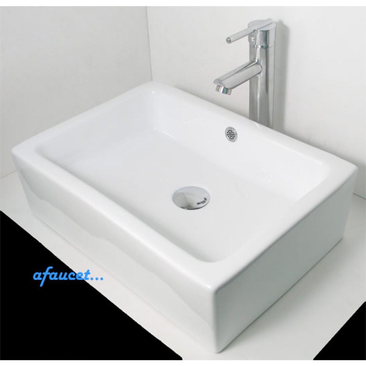 Rectangular Porcelain Ceramic White  Black Bathroom