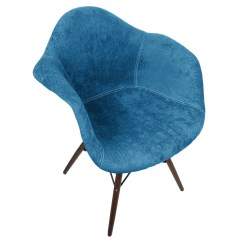Aqua Accent Chair Vending Massage Blue Velvet Fabric Eames Style Arm