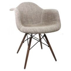 Eiffel Chair Wood Legs Folding Vector Brown Woven Fabric Eames Style Accent Arm With Dark