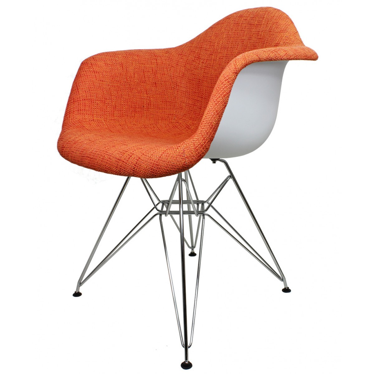 orange upholstered chair metal and wood chairs woolen fabric eames style accent arm woven