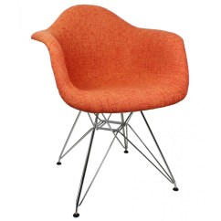 Accent Chair Orange Track Chairs For Vets Woolen Fabric Eames Style Arm