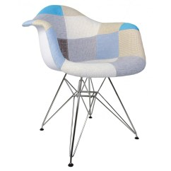 Tub Fabric Accent Chair Patchwork Chairs Gray Pattern Upholstered Mid Century Eames Style