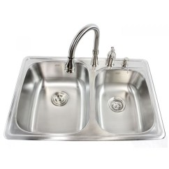 Drop In Kitchen Sinks Granite Composite 33 Inch Stainless Steel Top Mount 60 40 Double