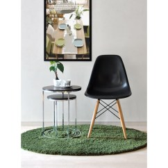 Black Plastic Chair With Wooden Legs Recliner Vs Ottoman Eames Style Dsw Molded Dining Shell