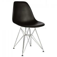 Plastic Chairs With Steel Legs White Dining Chair Slipcovers Set Of 4 Eames Style Dsr Molded Black Shell