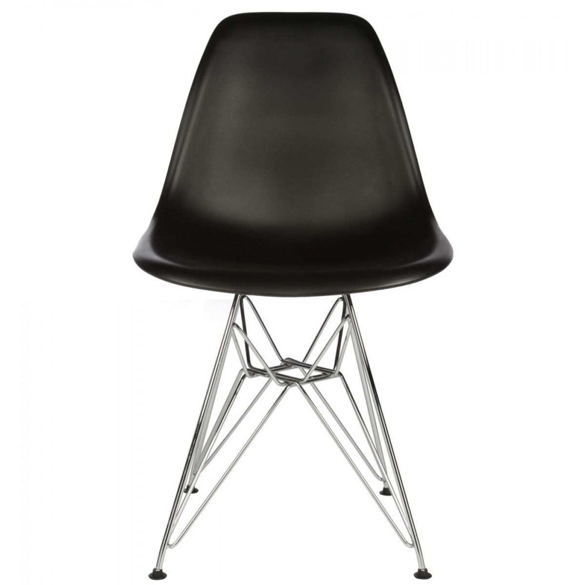 plastic chairs with steel legs swivel office wheels set of 4 eames style dsr molded black dining shell