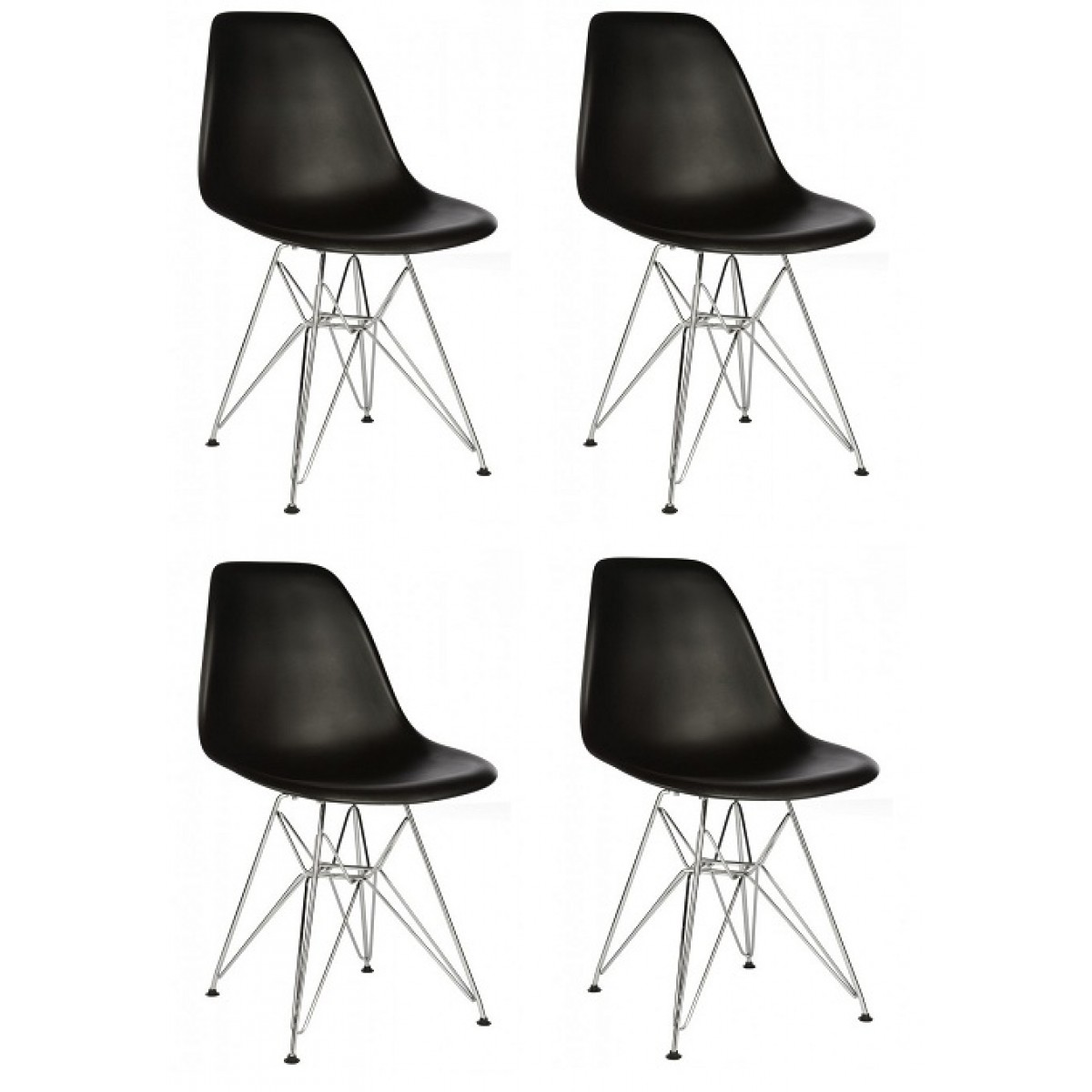 plastic chairs with steel legs comfy reading chair set of 4 eames style dsr molded black dining shell