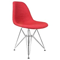 Red Woven Fabric Upholstered Mid-Century Accent Side ...