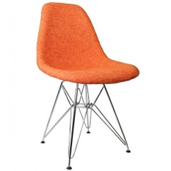 Mid Century Modern Accent Chair Orange Lawn Repair Material Fabric Upholstered Eames Style