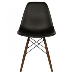 Eames Style Plastic Chair Brushed Metal Dining Set Of 4 Dsw Molded Black Shell