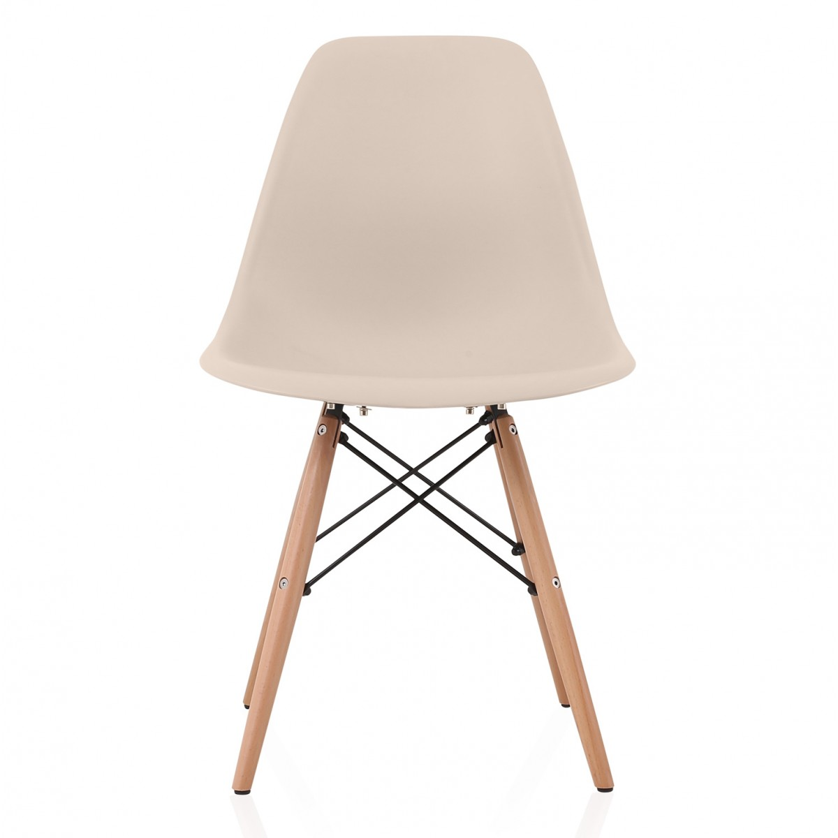 eiffel dining chair with beech legs room covers buttons nature series cream beige eames style dsw molded plastic