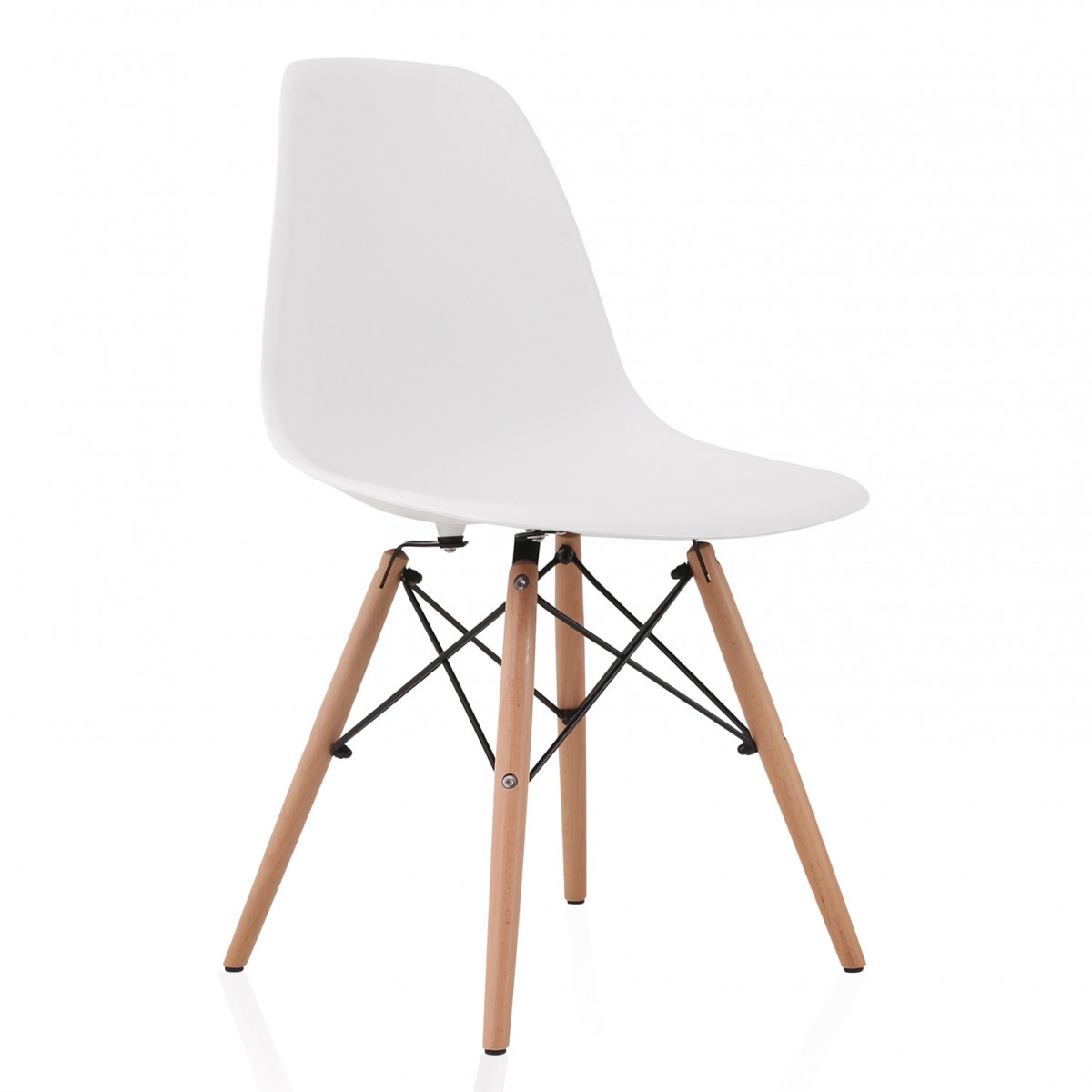 eiffel dining chair with beech legs under laptop stand eames style dsw molded white plastic shell