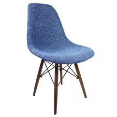 Blue Pattern Accent Chair French Dining Chairs Melbourne Fabric Upholstered Eames Style With Dark Walnut Wood Eiffel Legs