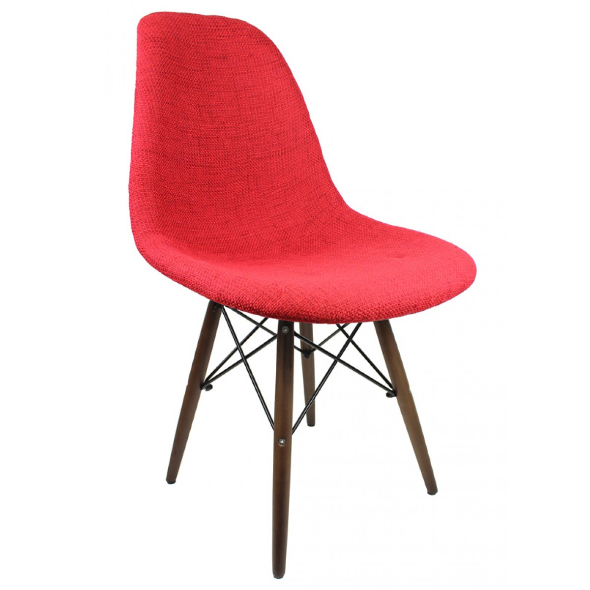 eiffel chair wood legs love bag red fabric upholstered eames style accent with dark