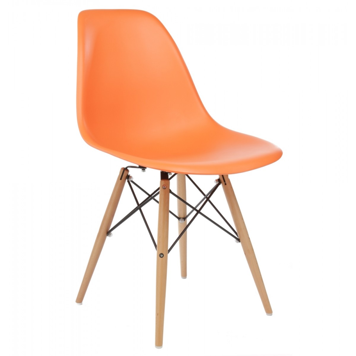 modern orange chair queen anne chairs eames style dsw molded plastic dining shell