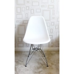 Plastic Chairs With Steel Legs Dining Johannesburg Set Of 4 Eames Style Dsr Molded White Shell