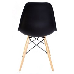Black Plastic Chair With Wooden Legs Floating Lounge Umbrella Eames Style Dsw Molded Dining Shell