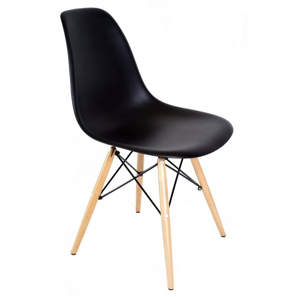 black plastic chair with wooden legs remote control holder for arm eames style dsw molded dining shell