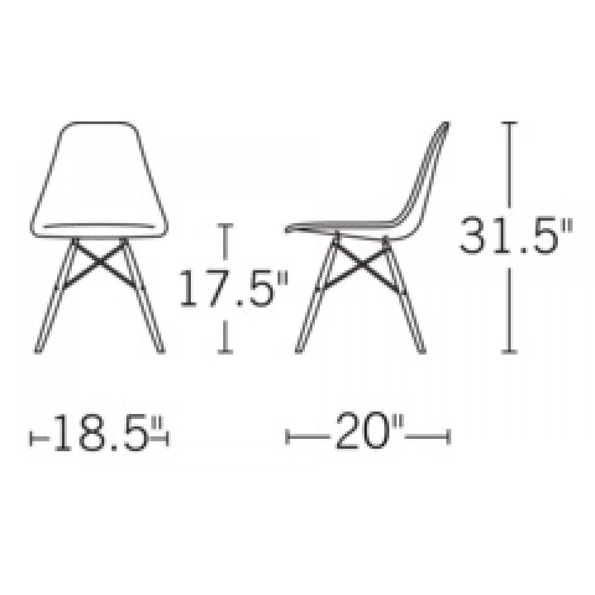 Set Of 2 Eames Style Dsw Molded White Plastic Dining Shell