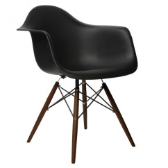 Black Plastic Chair With Wooden Legs Recycled Milk Jug Chairs Eames Style Daw Molded In Dining Armchair Dark Walnut Wood Eiffel