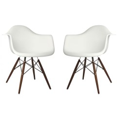 White Plastic Dining Chairs T4 Spa Pedicure Chair Parts Set Of 2 Eames Style Daw Molded Armchair With Dark Walnut Wood Eiffel Legs