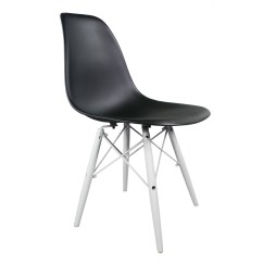 Black Plastic Chair With Wooden Legs Zebra Print Chairs Eames Style Dsw Molded Dining Shell