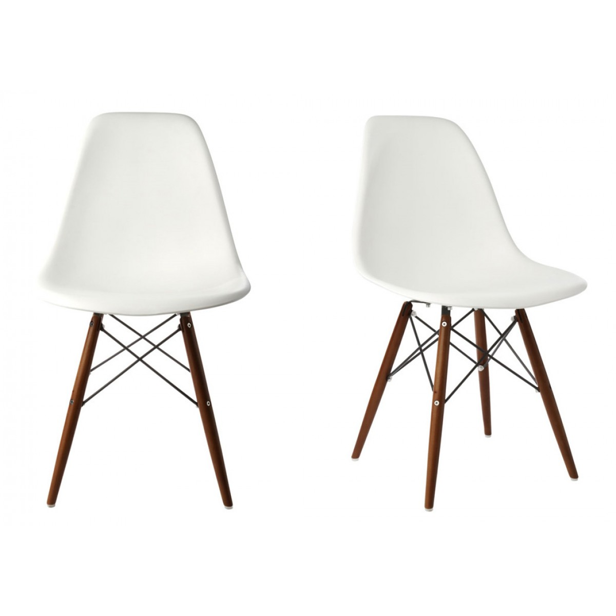 white plastic dining chairs ergonomic chair drawing set of 2 eames style dsw molded shell with dark walnut wood eiffel legs