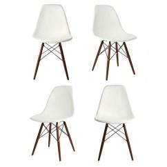 Black Plastic Chair With Wooden Legs Milo Baughman Thayer Coggin Set Of 4 Eames Style Dsw Molded White Dining Shell Dark Walnut Wood Eiffel