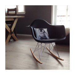 Black Rocking Chairs Pottery Barn Kids Desk Chair Eames Style Rar Molded Plastic With Steel Eiffel Legs