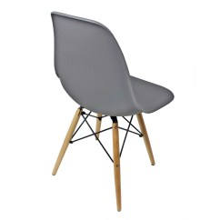 Eiffel Dining Chair With Beech Legs Kid In Wheelchair Set Of 4 Eames Style Dsw Gray Plastic Shell