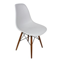 White Plastic Dining Chairs Honda Pilot Captains Eames Style Dsw Light Gray Shell Chair With Dark Walnut Wood Eiffel Legs