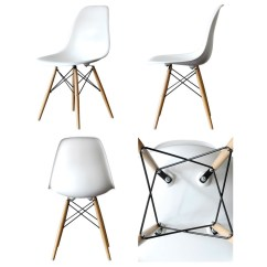 Eiffel Dining Chair With Beech Legs Wooden Table Chairs Eames Style Dsw Molded White Plastic Shell