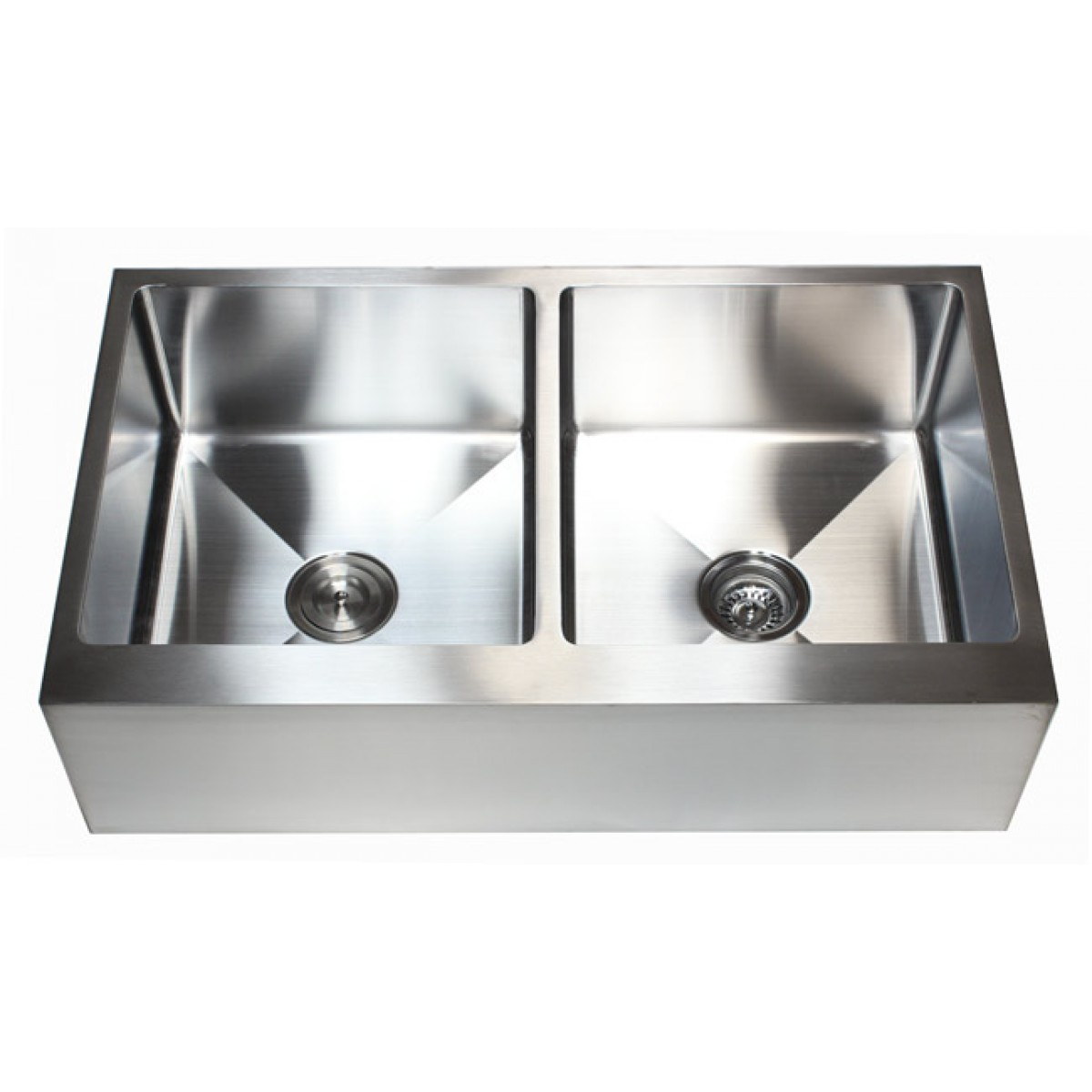double kitchen sink pantry cabinet ikea 36 inch stainless steel flat front farm apron 50